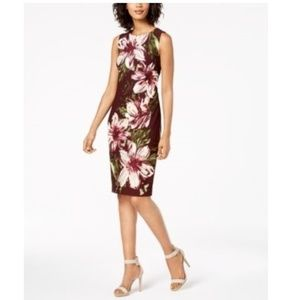 Calvin Klein Purple Floral Sheath Sleeveless Dress